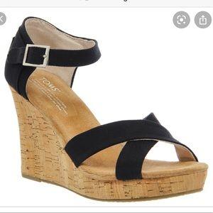 Toms Cork Wedge Heels